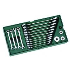Инструм. Лоток (набор) Ключи Комбинированные. 19пр. (Metric) 09908